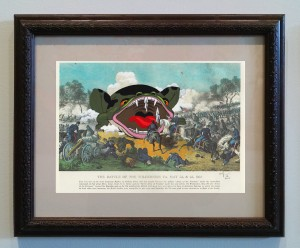 Victor Castillo -  <strong>The Battle of the Wilderness</strong> (2017<strong style = 'color:#635a27'></strong>)<bR /> gouache on paper in vintage frame,  Framed: 13.87 x 11.25 inches, (35.22 x 28.57 cm)