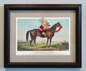Victor Castillo -  <strong>The Celebrated Horse</strong> (2017<strong style = 'color:#635a27'></strong>)<bR /> gouache on paper in vintage frame,  Framed: 13.87 x 11.25 inches, (35.22 x 28.57 cm)