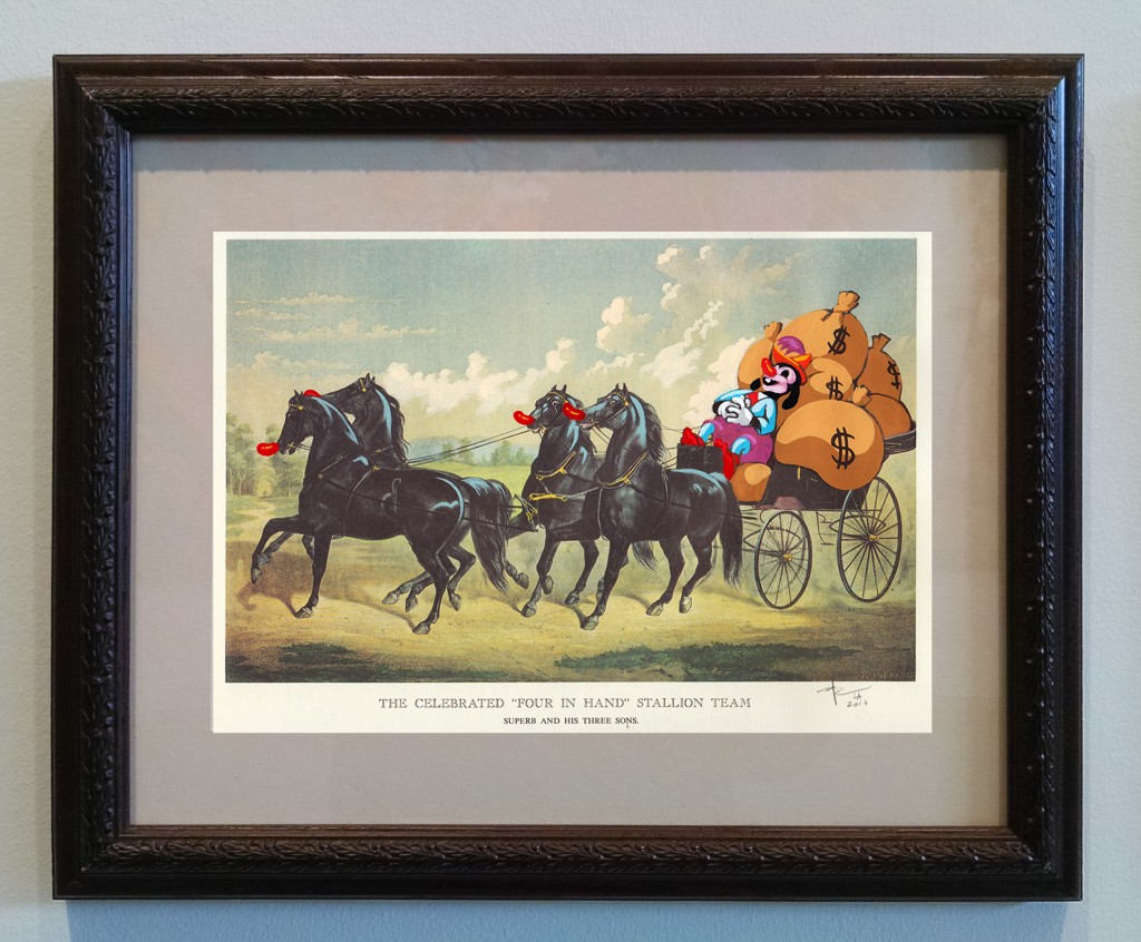 Victor Castillo -  <strong>The Celebrated Stallion Team</strong> (2017<strong style = 'color:#635a27'></strong>)<bR /> gouache on paper in vintage frame,  Framed: 13.87 x 11.25 inches, (35.22 x 28.57 cm)