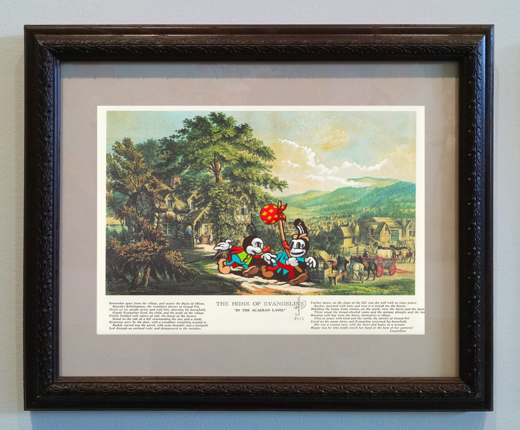 Victor Castillo -  <strong>The Home of Evangeline</strong> (2017<strong style = 'color:#635a27'></strong>)<bR /> gouache on paper in vintage frame,  Framed: 13.87 x 11.25 inches, (35.22 x 28.57 cm)
