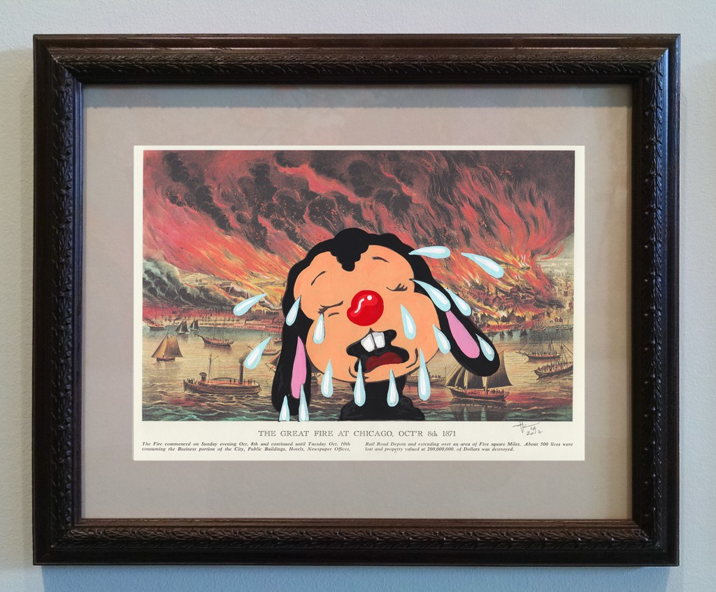 Victor Castillo -  <strong>The Great Fire at Chicago</strong> (2017<strong style = 'color:#635a27'></strong>)<bR /> gouache on paper in vintage frame,  Framed: 13.87 x 11.25 inches, (35.22 x 28.57 cm)