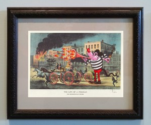 Victor Castillo -  <strong>The Life of a Fireman</strong> (2017<strong style = 'color:#635a27'></strong>)<bR /> gouache on paper in vintage frame,  Framed: 13.87 x 11.25 inches, (35.22 x 28.57 cm)