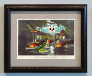 Victor Castillo -  <strong>A Midnight Race on the Mississippi</strong> (2017<strong style = 'color:#635a27'></strong>)<bR /> gouache on paper in vintage frame,  Framed: 13.87 x 11.25 inches, (35.22 x 28.57 cm)