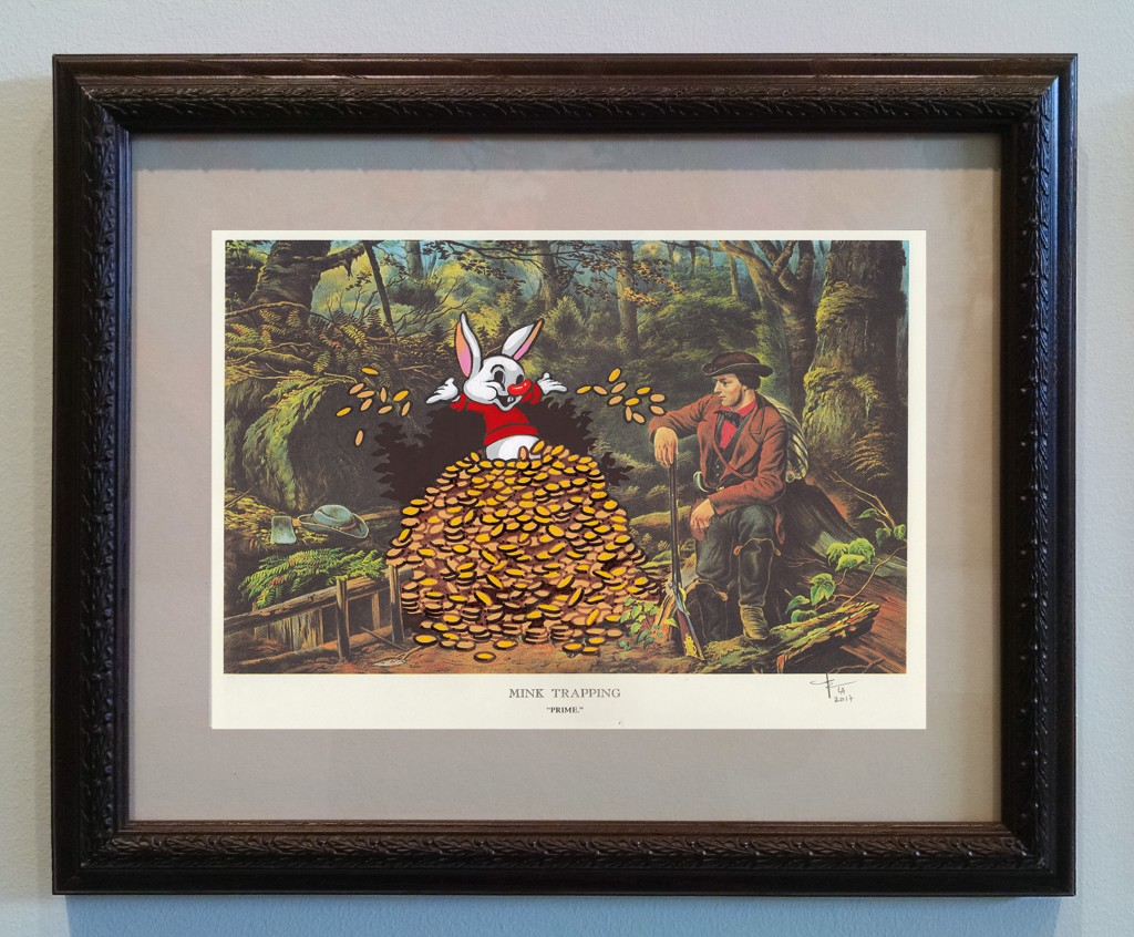 Victor Castillo -  <strong>Mink Trapping</strong> (2017<strong style = 'color:#635a27'></strong>)<bR /> gouache on paper in vintage frame,  Framed: 13.87 x 11.25 inches, (35.22 x 28.57 cm)
