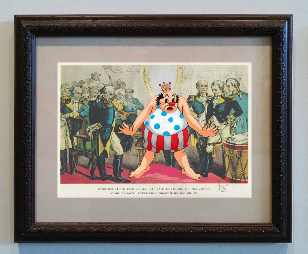 Victor Castillo -  <strong>Washington's Farewell</strong> (2017<strong style = 'color:#635a27'></strong>)<bR /> gouache on paper in vintage frame,  Framed: 13.87 x 11.25 inches, (35.22 x 28.57 cm)