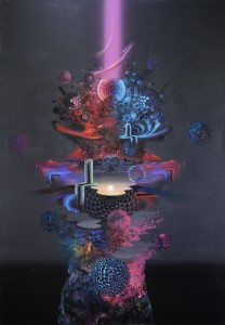David Choong Lee -  <strong>Home</strong> (2017<strong style = 'color:#635a27'></strong>)<bR /> acrylic, latex and aerosol paint, 72 x 48 inches, $12,000