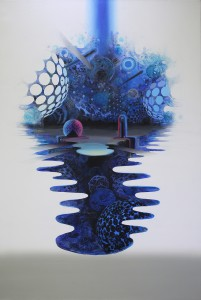 David Choong Lee -  <strong>Pond</strong> (2017<strong style = 'color:#635a27'></strong>)<bR /> acrylic, latex and aerosol paint, 72 x 48 inches, $12,000