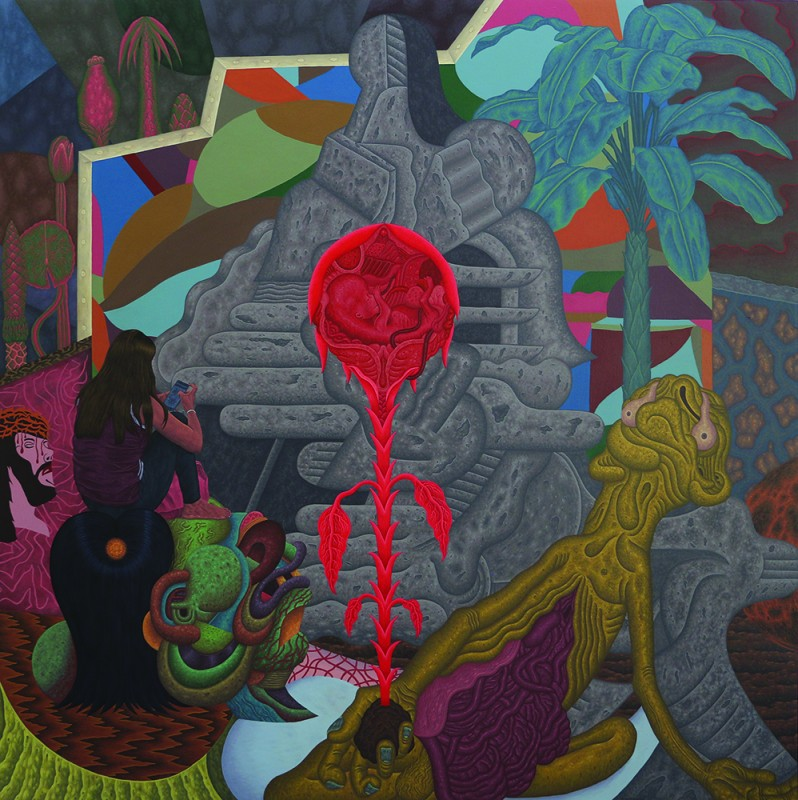 Louie Cordero -  <strong>The Alpha and Omega</strong> (2017<strong style = 'color:#635a27'></strong>)<bR /> acrylic on canvas, 72 x 72 inches,  (182.9 x 182.9 cm)