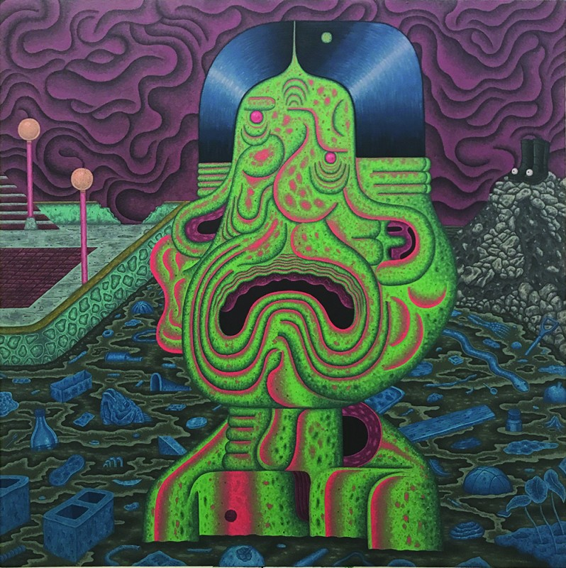 Louie Cordero -  <strong>Perpetual Deluge, Perpetual Guidance</strong> (2017<strong style = 'color:#635a27'></strong>)<bR /> acrylic on canvas, 48 x 48 inches, (121.9 x 121.9 cm)