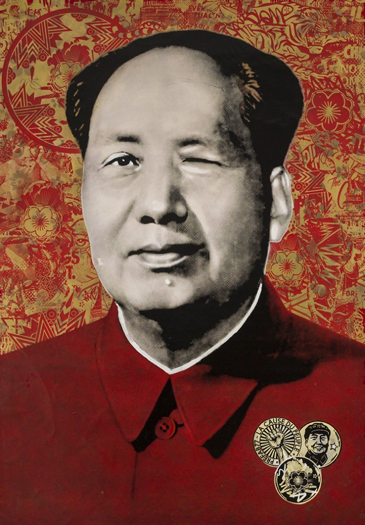 Prefab77 -  <strong>Cocky Mao</strong> (2017<strong style = 'color:#635a27'></strong>)<bR /> acrylic, ink, spraypaint and five layer stencil on canvas, 39 x 28 inches, (99.1 x 71.1 cm)