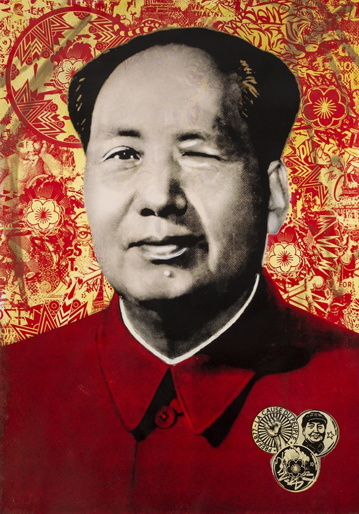 Prefab77 -  <strong>Cocky Mao (editions 1-5 of 5)</strong> (2017<strong style = 'color:#635a27'></strong>)<bR /> hand painted multiple (HPM) acrylic, ink, spraypaint and five layer stencil on 350 gsm Fabriano cotton, 39.3 x 27.5 inches, (99.8 x 69.9 cm) $1,200