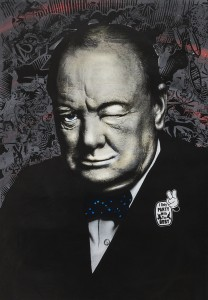 Prefab77 -  <strong>Winkin' Churchill</strong> (2017<strong style = 'color:#635a27'></strong>)<bR /> acrylic, ink, spraypaint and five layer stencil on canvas, 39 x 28 inches, $5,000