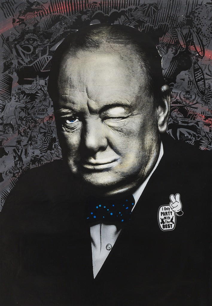 Prefab77 -  <strong>Winkin' Churchill</strong> (2017<strong style = 'color:#635a27'></strong>)<bR /> acrylic, ink, spraypaint and five layer stencil on canvas, 39 x 28 inches, (99.1 x 71.1 cm)