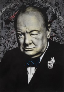 Prefab77 -  <strong>Winkin' Churchill (editions 1-5 of 5)</strong> (2017<strong style = 'color:#635a27'></strong>)<bR /> hand painted multiple (HPM) acrylic, ink, spraypaint and five layer stencil on 350 gsm Fabriano cotton, 39.3 x 27.5 inches, (99.8 x 69.9 cm) $1,200