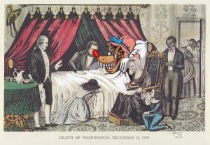 Victor Castillo -  <strong>Death of Washington</strong> (2017<strong style = 'color:#635a27'></strong>)<bR /> gouache on paper in vintage frame,  Framed: 13.87 x 11.25 inches, (35.22 x 28.57 cm)