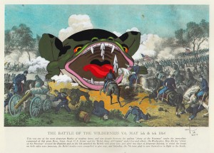 Victor Castillo -  <strong>The Battle of the Wilderness</strong> (2017<strong style = 'color:#635a27'></strong>)<bR /> gouache on paper in vintage frame,  Framed: 13.87 x 11.25 inches, (35.22 x 28.57 cm) $1,200