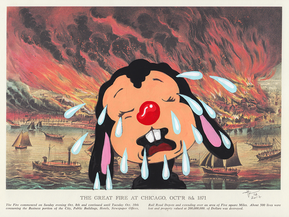 Victor Castillo -  <strong>The Great Fire at Chicago</strong> (2017<strong style = 'color:#635a27'></strong>)<bR /> gouache on paper in vintage frame,  Framed: 13.87 x 11.25 inches, (35.22 x 28.57 cm) $1,200