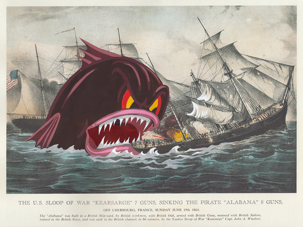 Victor Castillo -  <strong>The US Sloop of War</strong> (2017<strong style = 'color:#635a27'></strong>)<bR /> gouache on paper in vintage frame,  Framed: 13.87 x 11.25 inches, (35.22 x 28.57 cm) $1,200