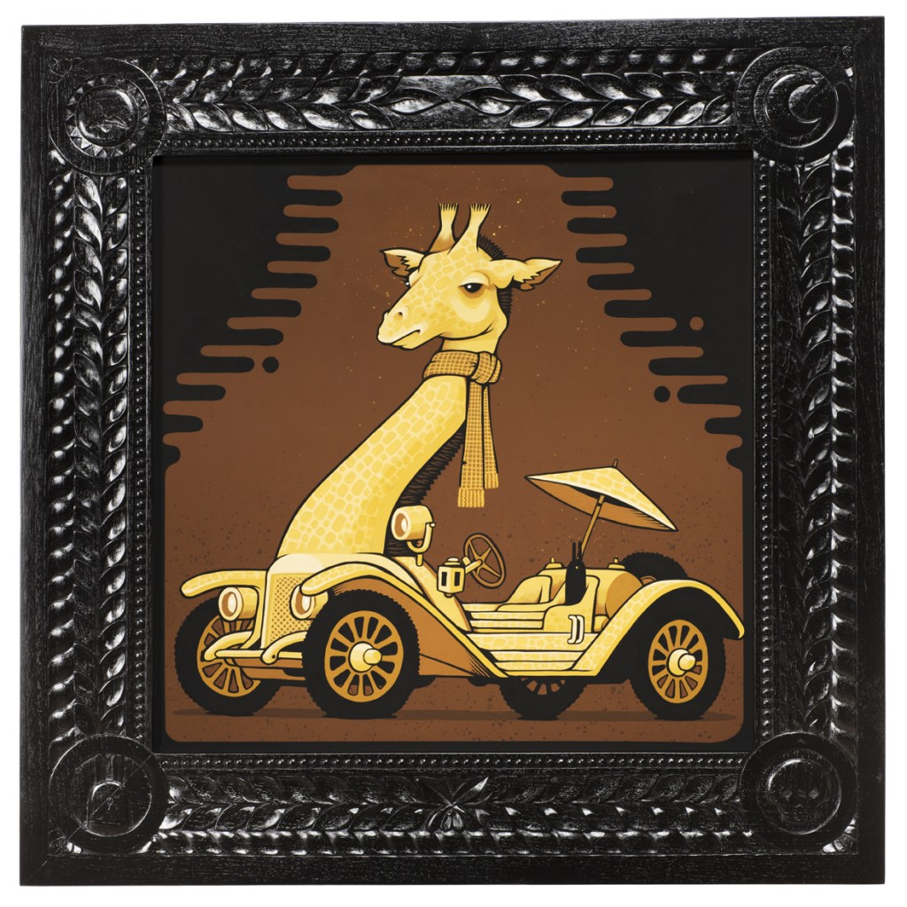 Jeremy Fish -  <strong>1913 Mercer Giraffe</strong> (2017<strong style = 'color:#635a27'></strong>)<bR /> acrylic on wood,  32 x 32 inches,  (81.28 x 81.28 cm)