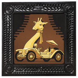 Jeremy Fish -  <strong>1913 Mercer Giraffe</strong> (2017<strong style = 'color:#635a27'></strong>)<bR /> acrylic on wood,  32 x 32 inches,  (81.28 x 81.28 cm) $5,500