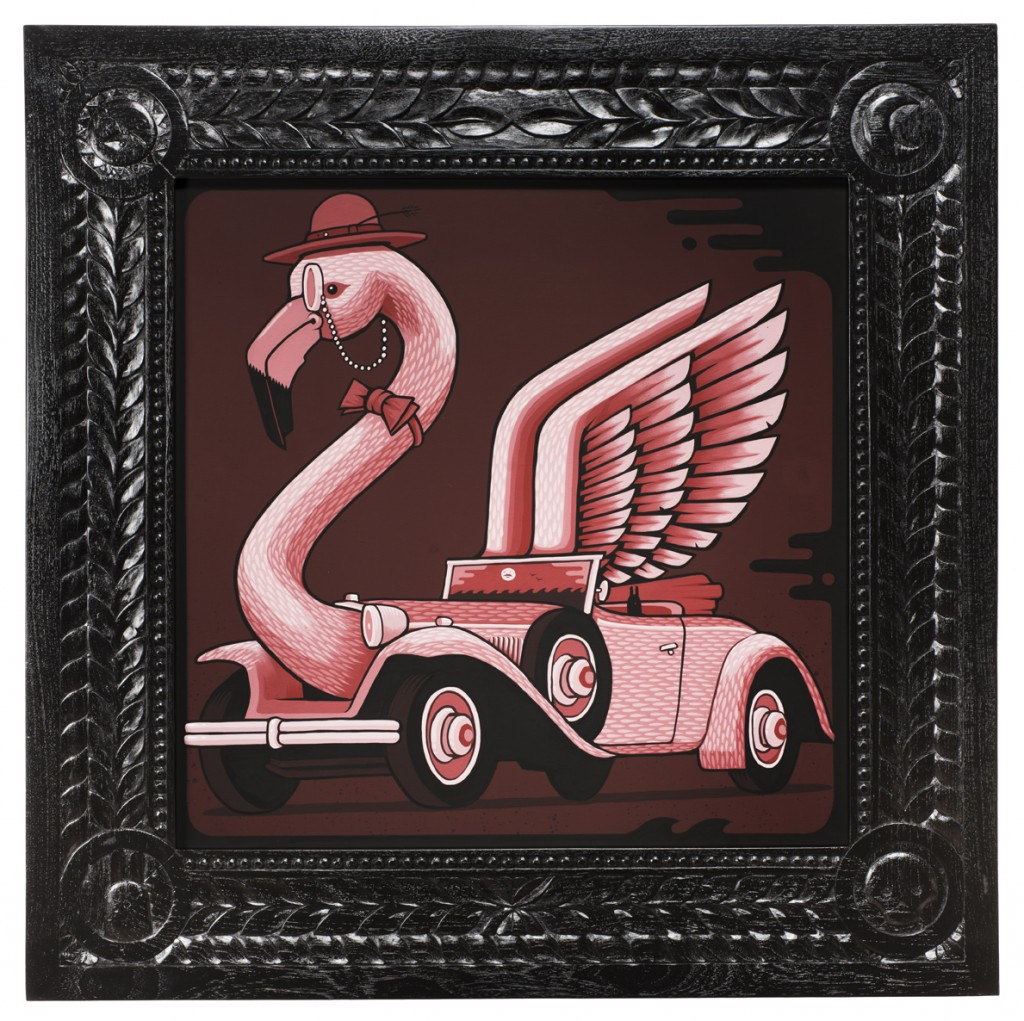 Jeremy Fish -  <strong>1929 Ruxton Flamingo</strong> (2017<strong style = 'color:#635a27'></strong>)<bR /> acrylic on wood,  32 x 32 inches,  (81.28 x 81.28 cm)