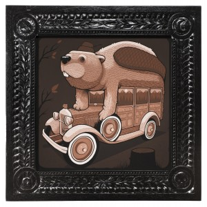 Jeremy Fish -  <strong>1931 Woody Wagon</strong> (2017<strong style = 'color:#635a27'></strong>)<bR /> acrylic on wood,  32 x 32 inches,  $5,500