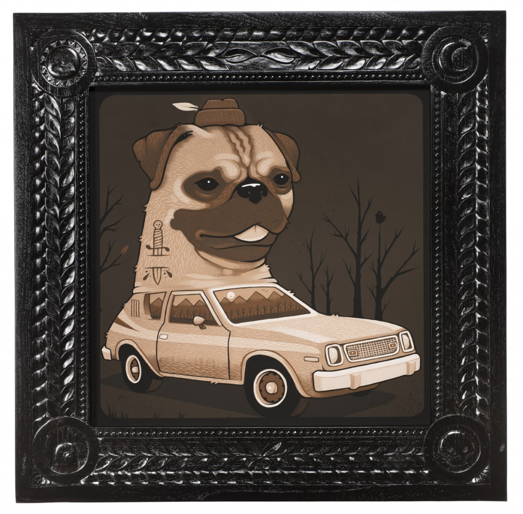 Jeremy Fish -  <strong>1974 AMC Pug Gremlin</strong> (2017<strong style = 'color:#635a27'></strong>)<bR /> acrylic on wood,  32 x 32 inches,  $5,500