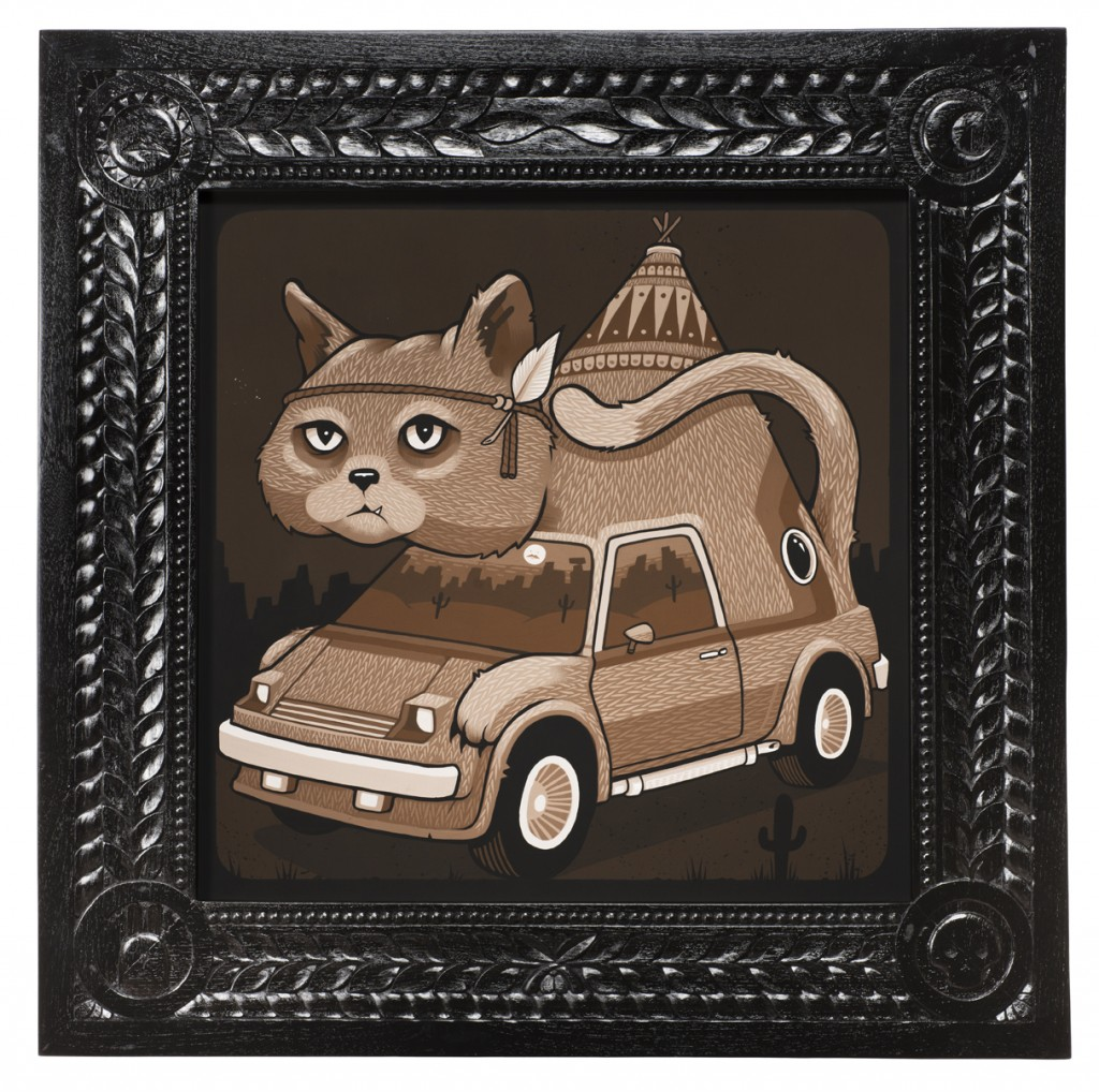 Jeremy Fish -  <strong>Cat Van</strong> (2017<strong style = 'color:#635a27'></strong>)<bR /> acrylic on wood,  32 x 32 inches,  (81.28 x 81.28 cm)