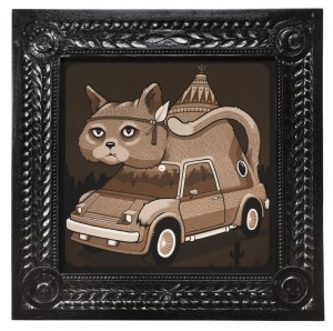 Jeremy Fish -  <strong>Cat Van</strong> (2017<strong style = 'color:#635a27'></strong>)<bR /> acrylic on wood,  32 x 32 inches,  $5,500