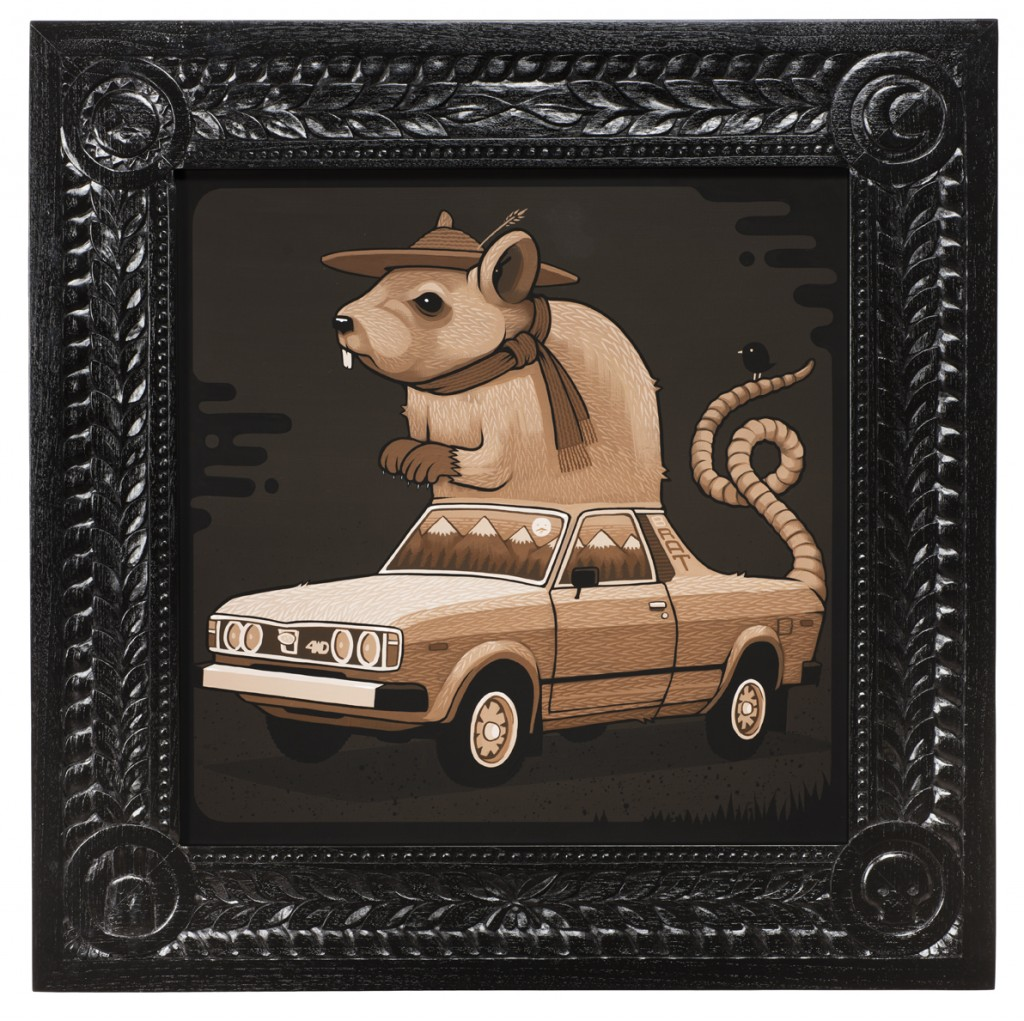 Jeremy Fish -  <strong>1980 Subaru Rat</strong> (2017<strong style = 'color:#635a27'></strong>)<bR /> acrylic on wood,  32 x 32 inches,  (81.28 x 81.28 cm)