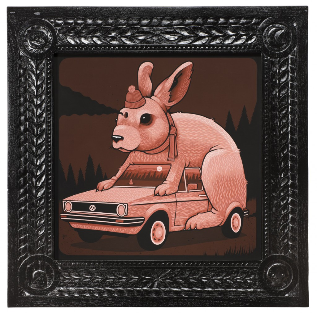 Jeremy Fish -  <strong>1984 Silly Pink Rabbit</strong> (2017<strong style = 'color:#635a27'></strong>)<bR /> acrylic on wood,  32 x 32 inches,  (81.28 x 81.28 cm)