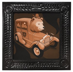 Jeremy Fish -  <strong>Custom Cub Coupe</strong> (2017<strong style = 'color:#635a27'></strong>)<bR /> acrylic on wood,  32 x 32 inches,  $5,500