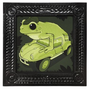 Jeremy Fish -  <strong>Fiberglass Frogmobile</strong> (2017<strong style = 'color:#635a27'></strong>)<bR /> acrylic on wood,  32 x 32 inches,  $5,500