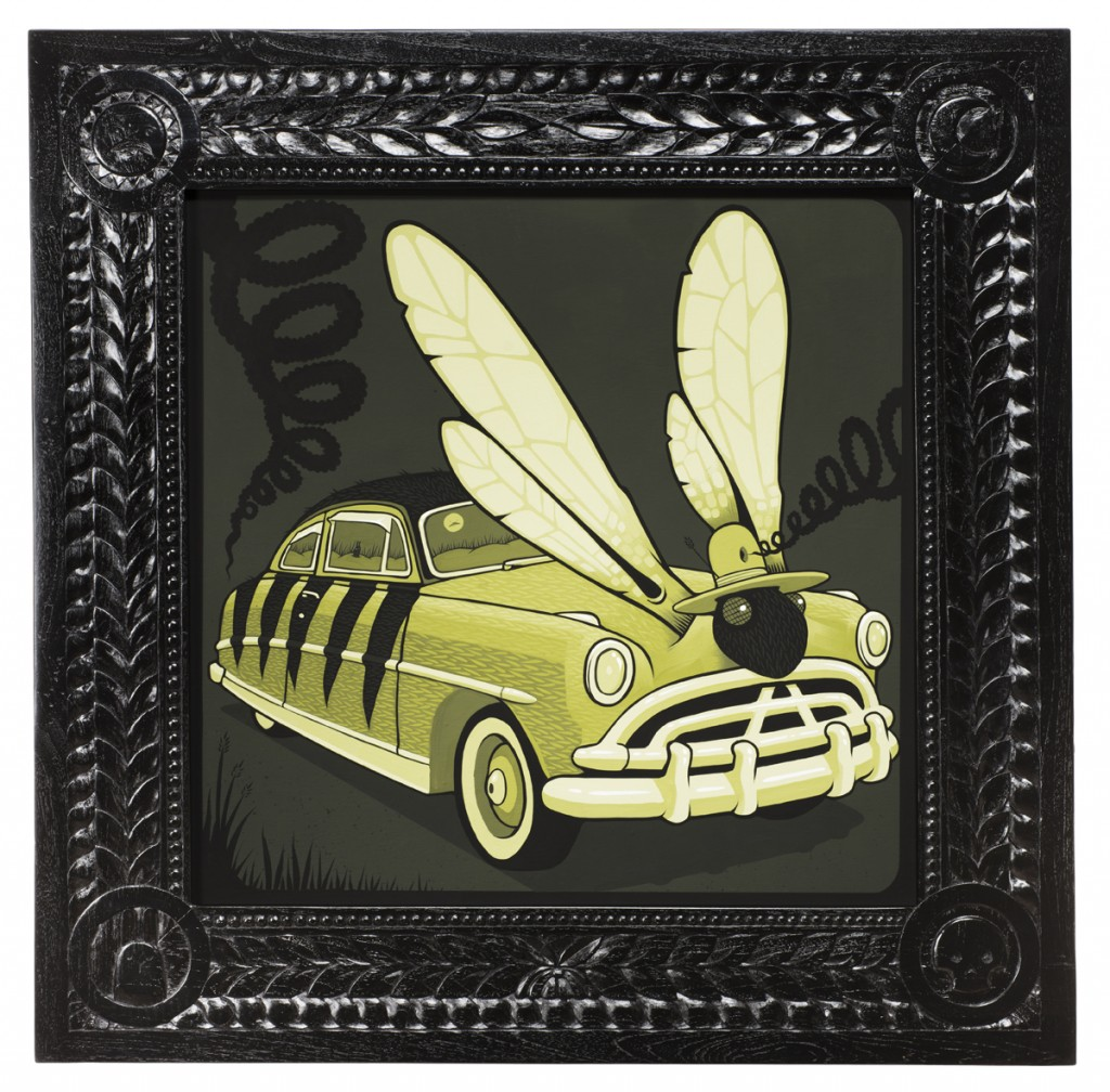 Jeremy Fish -  <strong>McQueen's 1952 Wasp</strong> (2017<strong style = 'color:#635a27'></strong>)<bR /> acrylic on wood,  32 x 32 inches,  $5,500