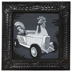 Jeremy Fish -  <strong>Rooster Roadster</strong> (2017<strong style = 'color:#635a27'></strong>)<bR /> acrylic on wood,  32 x 32 inches,  $5,500