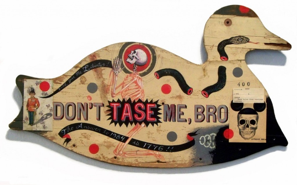 Anthony Freda -  <strong>Don't Tase Me</strong> (2012<strong style = 'color:#635a27'></strong>)<bR /> acrylic and collage on vintage wood cutout, 16 x 26 x 1 inches, $3,000