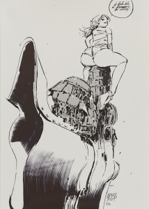 Ashley Wood -  <strong>During These Years (edition 2/4)</strong> (2017<strong style = 'color:#635a27'></strong>)<bR /> giclee hand embellished with acrylic markers, 23.5 x 16.5 inches, (59.7 x 41.9 cm) $500