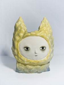 Aya Kakeda -  <strong>Cat Lady Head</strong> (2016<strong style = 'color:#635a27'></strong>)<bR /> glazed ceramic, 10 x 12 x 7 inches, $2,500