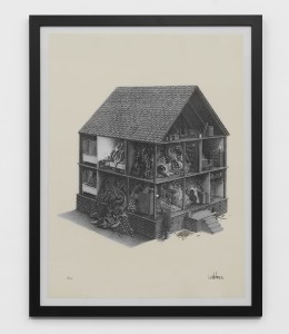 Ben Tolman -  <strong>Occupied (edition 1/20)</strong> (2017<strong style = 'color:#635a27'></strong>)<bR /> stone lithograph, 22 x 30 inches, (55.9 x 76.2 cm), framed: 33.1 x 25.75 inches, (84.1 x 65.4 cm) $600