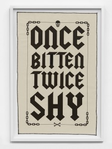 Ben Venom -  <strong>Once Bitten Twice Shy (edition 1/50)</strong> (2017<strong style = 'color:#635a27'></strong>)<bR /> 1 color screen print on canvas with stitching, 29 x 18.5 inches, (73.7 x 46.9 cm), framed: 32.75 x 22.5 inches, (83.1 x 57.1 cm) $500