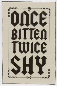 Ben Venom, Once Bitten Twice Shy (edition of 50)(2017) . 1 color screen print on canvas with stitching, 29 x 18.5 inches, (73.7 x 46.9 cm), $250