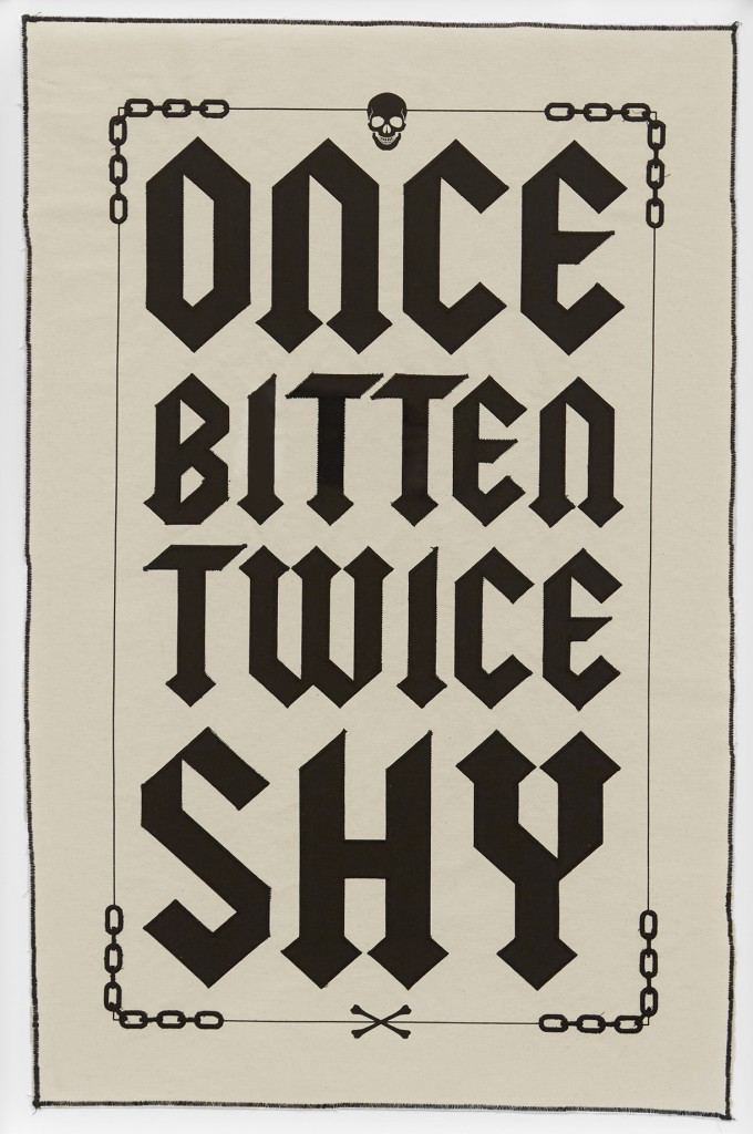 Ben Venom -  <strong>Once Bitten Twice Shy (edition of 50)</strong> (2017<strong style = 'color:#635a27'></strong>)<bR /> 1 color screen print on canvas with stitching,	 29 x 18.5 inches, (73.7 x 46.9 cm), $250