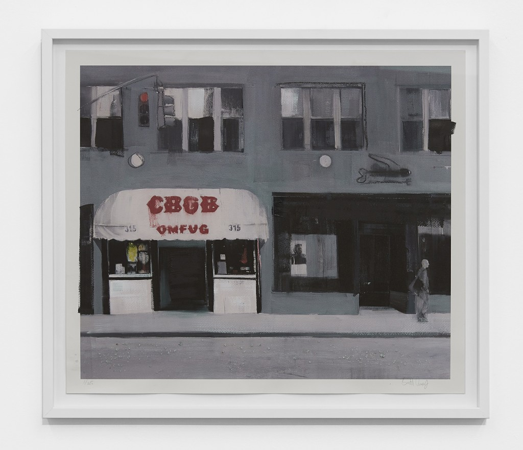Brett Amory -  <strong>CBGB (Waiting #243) (edition 1/25)</strong> (2017<strong style = 'color:#635a27'></strong>)<bR /> giclee hand embellished with acrylic and street diamonds on #300 Italian cold press watercolor paper, 24 x 26 inches, (60.9 x 66 cm) framed: 31 x 27.25 inches  (76.2 x 69.2 cm)