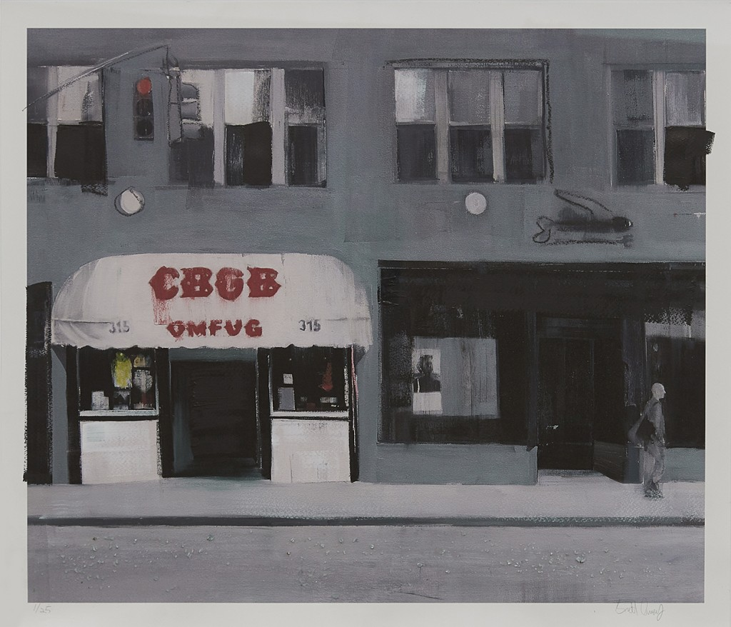 Brett Amory -  <strong>CBGB (Waiting #243) (edition of 25)</strong> (2017<strong style = 'color:#635a27'></strong>)<bR /> giclee hand embellished with acrylic and street diamonds on #300 Italian cold press watercolor paper, 24 x 26 inches, (60.9 x 66 cm) $300