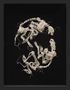 Caitlin McCormack -  <strong>Vow</strong> (2016<strong style = 'color:#635a27'></strong>)<bR /> crocheted cotton string, glue, steel pins and velvet, 25 x 19 x 3 inches, $2,800