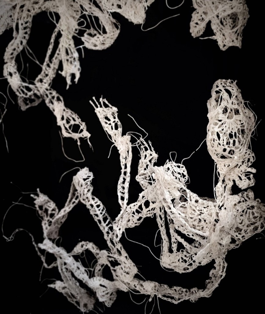 Caitlin McCormack -  <strong>Vow (detail)</strong> (2016<strong style = 'color:#635a27'></strong>)<bR /> crocheted cotton string, glue, steel pins and velvet, 25 x 19 x 3 inches