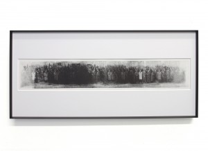 Choi Wong -  <strong>Front #1</strong> (2016<strong style = 'color:#635a27'></strong>)<bR /> ink relief print on 120 grams paper, 27.5 x 13.8 inches, $1,400
