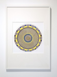 Julia Ibbini (Second Place Winner) -  <strong>Untitled Study (Fahan)</strong> (2017<strong style = 'color:#635a27'></strong>)<bR /> lasercut paper over ink on mylar, 27.5 x 39 inches