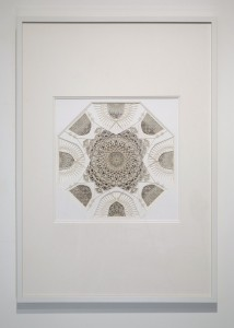 Julia Ibbini (Second Place Winner) -  <strong>Untitled Study (Sultan)</strong> (2017<strong style = 'color:#635a27'></strong>)<bR /> laser cut paper over metallic insets, 27.5 x 39 inches $6,500