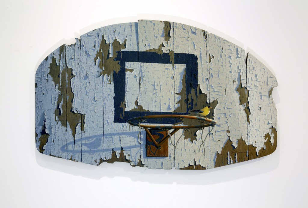 Josh Tiessen (First Place Winner) -  <strong>Defending The Paint</strong> (2004<strong style = 'color:#635a27'></strong>)<bR /> oil on braced baltic birch, 20 x 32 inches, $9,500